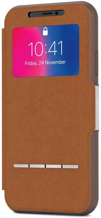 Чехол-книжка Moshi SenseCover для iPhone X. Материал пластик/полиуретан. Цвет коричневый. аксессуар чехол moshi sensecover для iphone 6 plus graphite 99mo072304