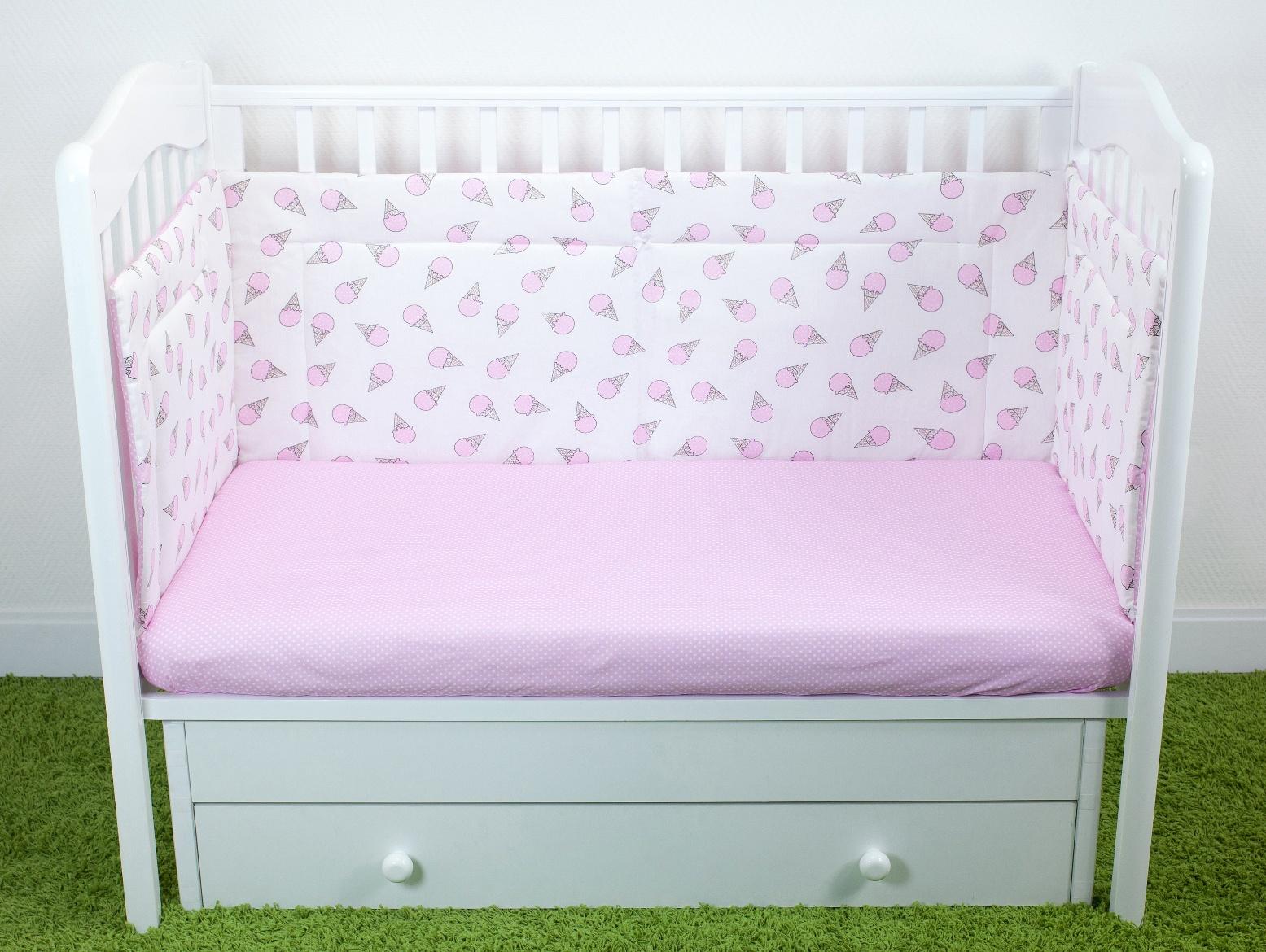 Бортики для детской кроватки Magic City Розовый десерт 35x60