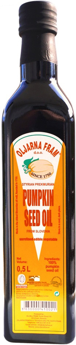 Тыквенное масло Olljarna Fram, из семян штирийской тыквы, 500 мл
