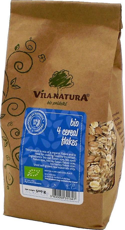 Мультизлаковые хлопья Vila Natura 4 злака, овес, спельта, рожь, ячмень, 500 г