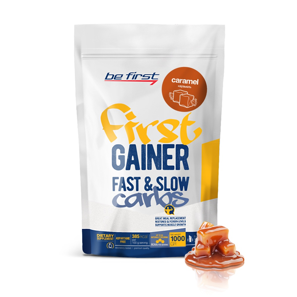 Гейнер Be First Gainer Fast & Slow Carbs 1000 гр, карамель