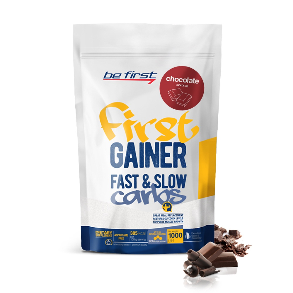 Гейнер Be First Gainer Fast & Slow Carbs 1000 гр, шоколад
