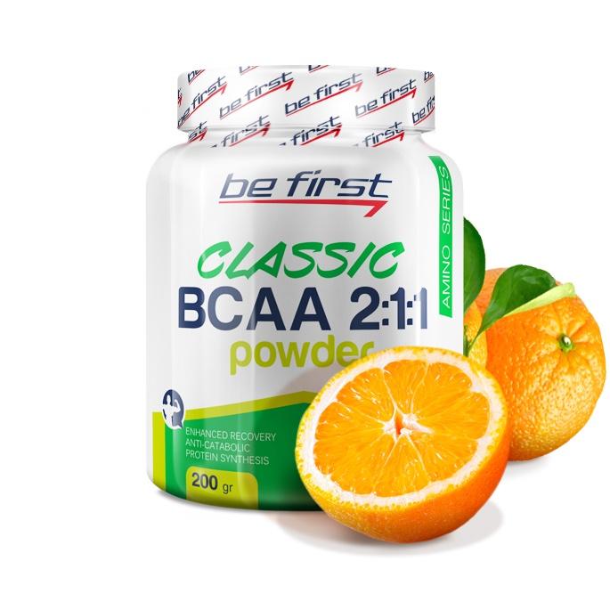 Аминокислоты Be First BCAA 2:1:1 Classic Powder 200 гр, апельсин