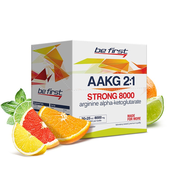 Аргинин Be First Arginine AKG Strong 8000 мг 20 ампул, цитрусовый микс