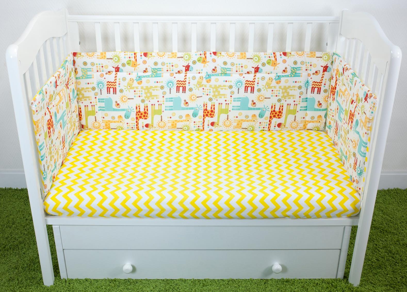 Бортики для детской кроватки Magic City Абстракция с жирафами 35x60
