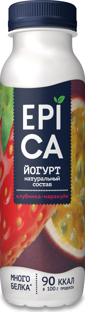 Йогурт питьевой Epica Клубника и маракуйя, 2,5 %, 290 г
