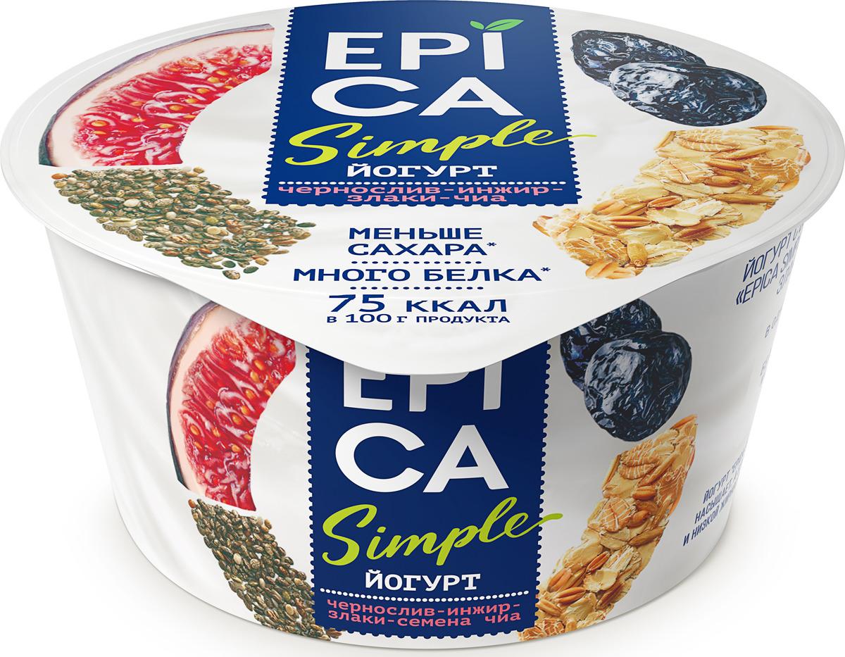 Йогурт Epica Simpie, с черносливом, инжиром, злаками и семенами чиа, 1,6 %, 130 г