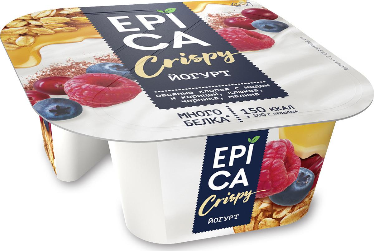 Йогурт Epica Crispy, Натуральный и смесь из мюсли и сушеных ягод, 6,5 %, 138 г