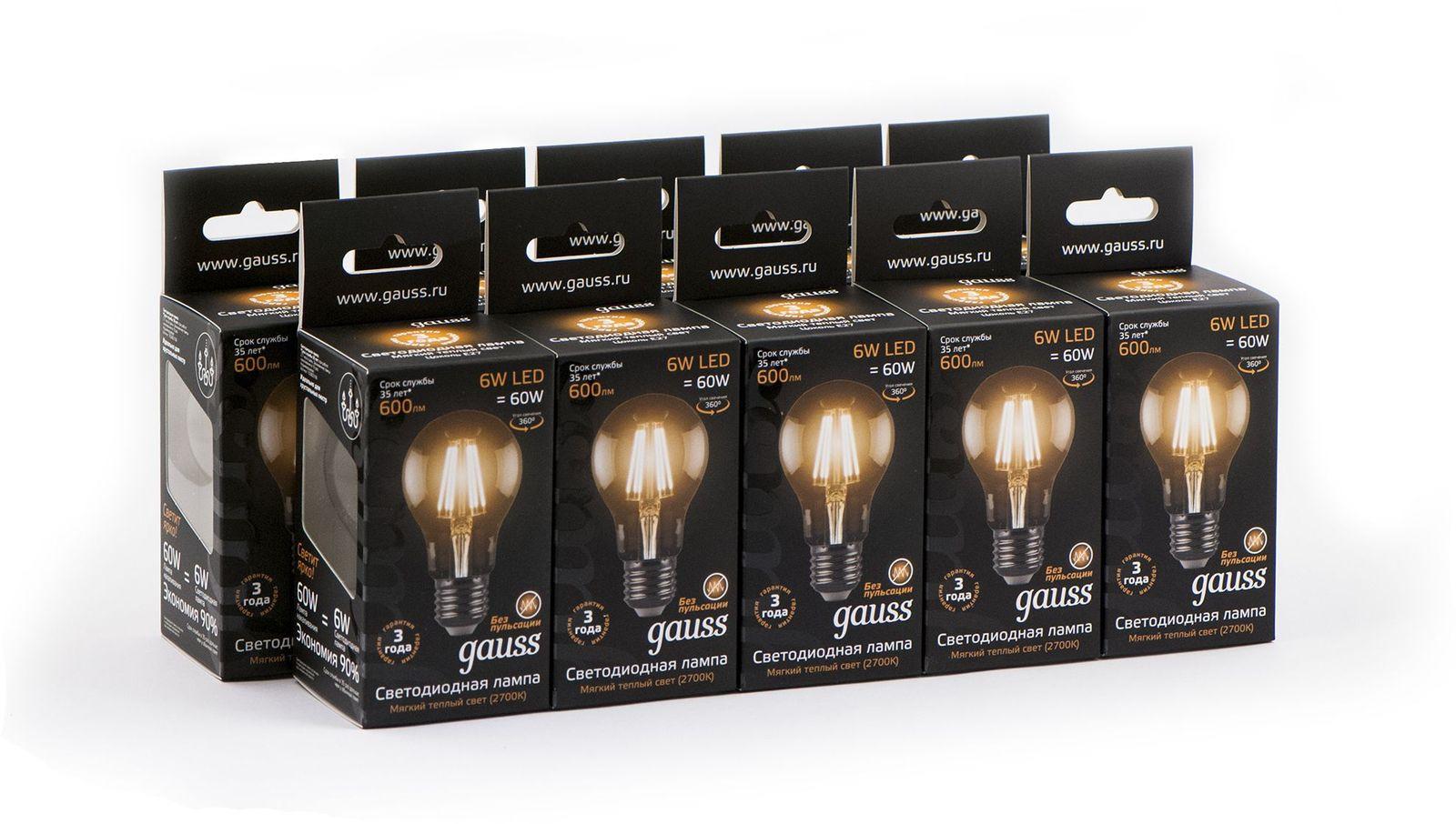 gauss лампа светодиодная gauss led filament candle e14 7w 2700к 1 10 50 103801107 Лампочка Gauss Светодиодная Black Filament A60 10 шт, Теплый свет 6 Вт, Светодиодная