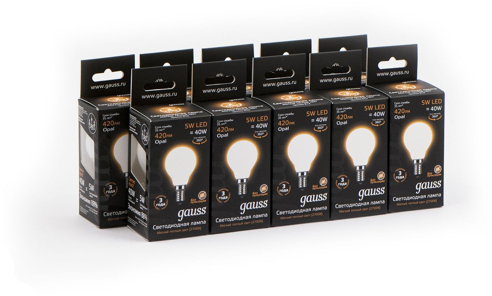 Лампочка Gauss Светодиодная Black Filament Шар Opal 10 шт, Теплый свет 5 Вт, Светодиодная лампа светодиодная gauss e14 5w 2700k свеча на ветру прозрачная 1 10 50 104801105