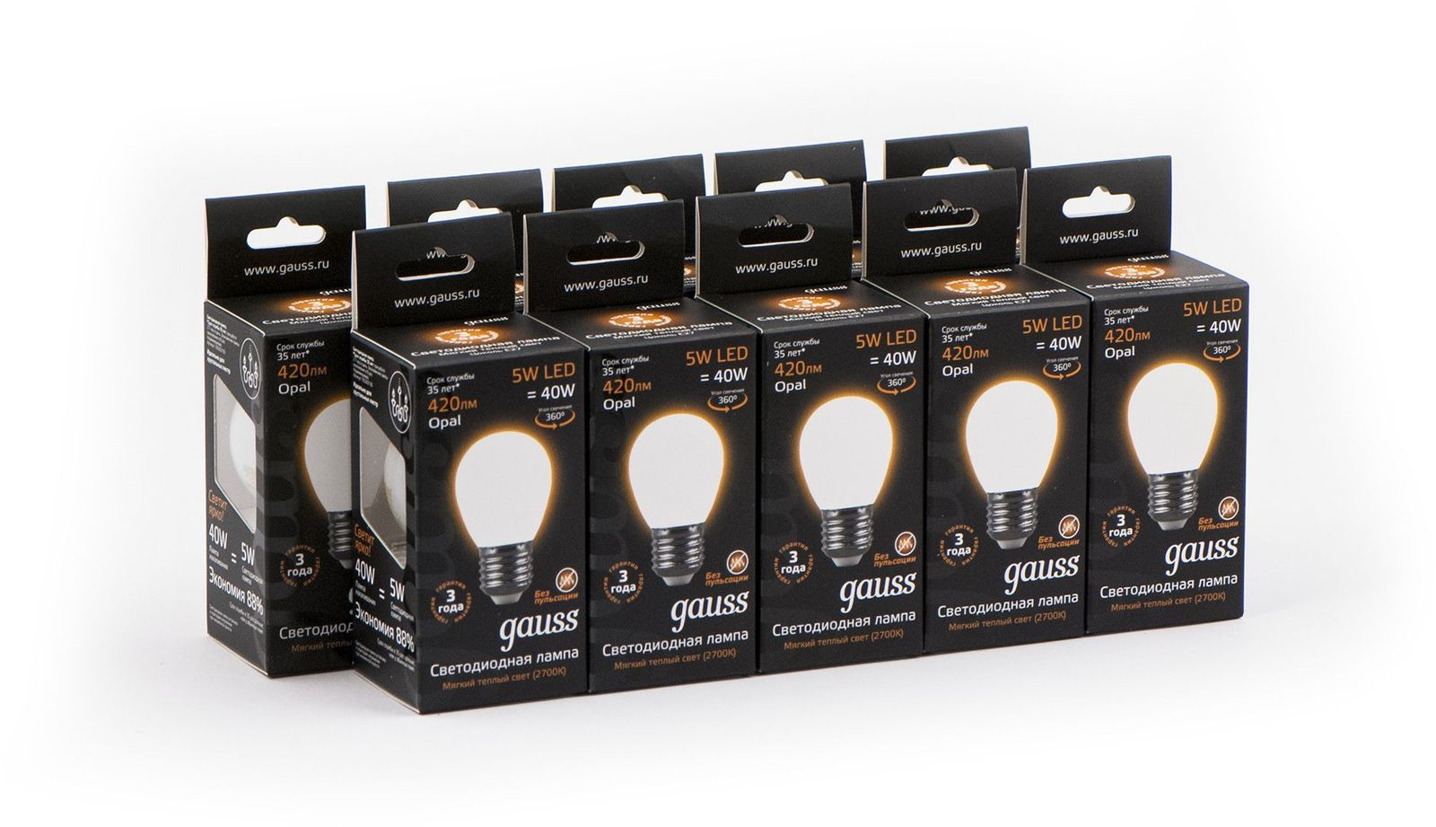 Лампочка Gauss Светодиодная Black Filament Шар Opal 10 шт, Теплый свет 5 Вт, Светодиодная лампочка gauss black filament opal led свеча e14 5w 103201105