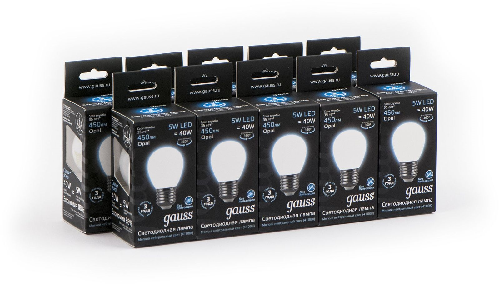 Лампочка Gauss Светодиодная Black Filament Шар Opal 10 шт, Нейтральный свет 5 Вт, Светодиодная лампочка gauss black filament opal led свеча e14 5w 103201105