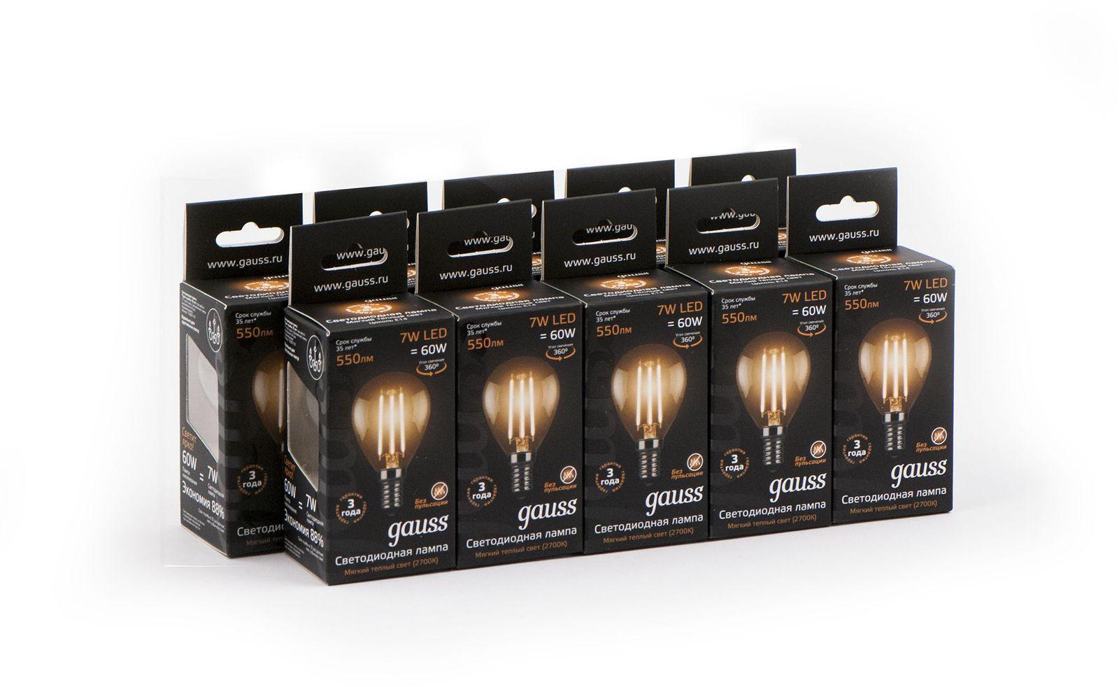 Лампочка Gauss Светодиодная Black Filament Шар 10 шт, Теплый свет 7 Вт, Светодиодная лампочка gauss filament e14 свеча 7w 550lm 2700k step dimmable 103801107 s