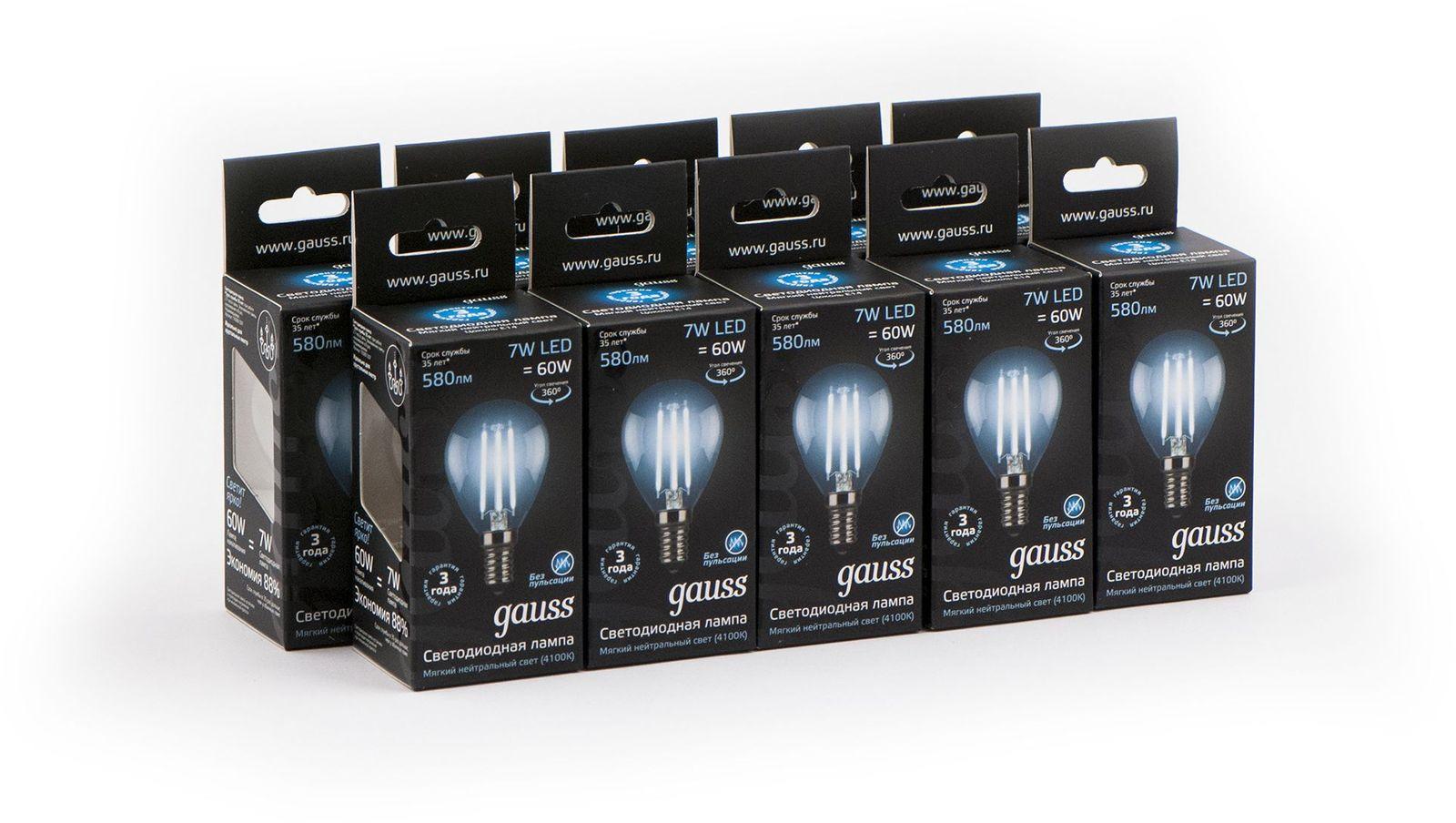 gauss лампа светодиодная gauss led filament candle e14 7w 2700к 1 10 50 103801107 Лампочка Gauss Светодиодная Black Filament Шар 10 шт, Нейтральный свет 7 Вт, Светодиодная