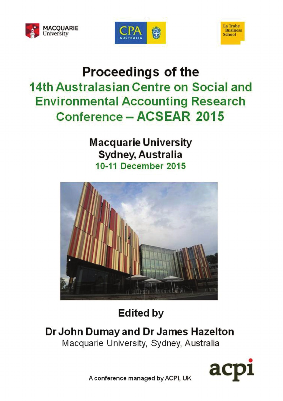 цена на A-CSEAR 2015 - 14th Australasian Centre on Social and Environmental Accounting Research Conference