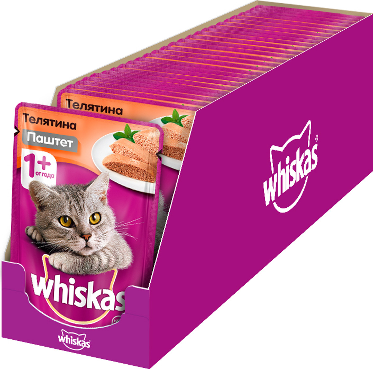 Консервы Whiskas для кошек от 1 года, мясной паштет с телятиной, 85 г, 24 шт консервы whiskas для кошек от 1 года мясной паштет из говядины с печенью 85 г х 24 шт