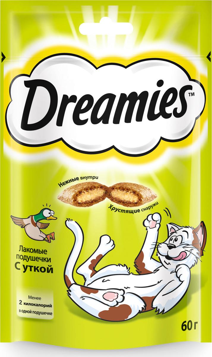 Лакомство для взрослых кошек Dreamies, подушечки с уткой, 60 г лакомство для взрослых кошек dreamies подушечки с говядиной 140 г