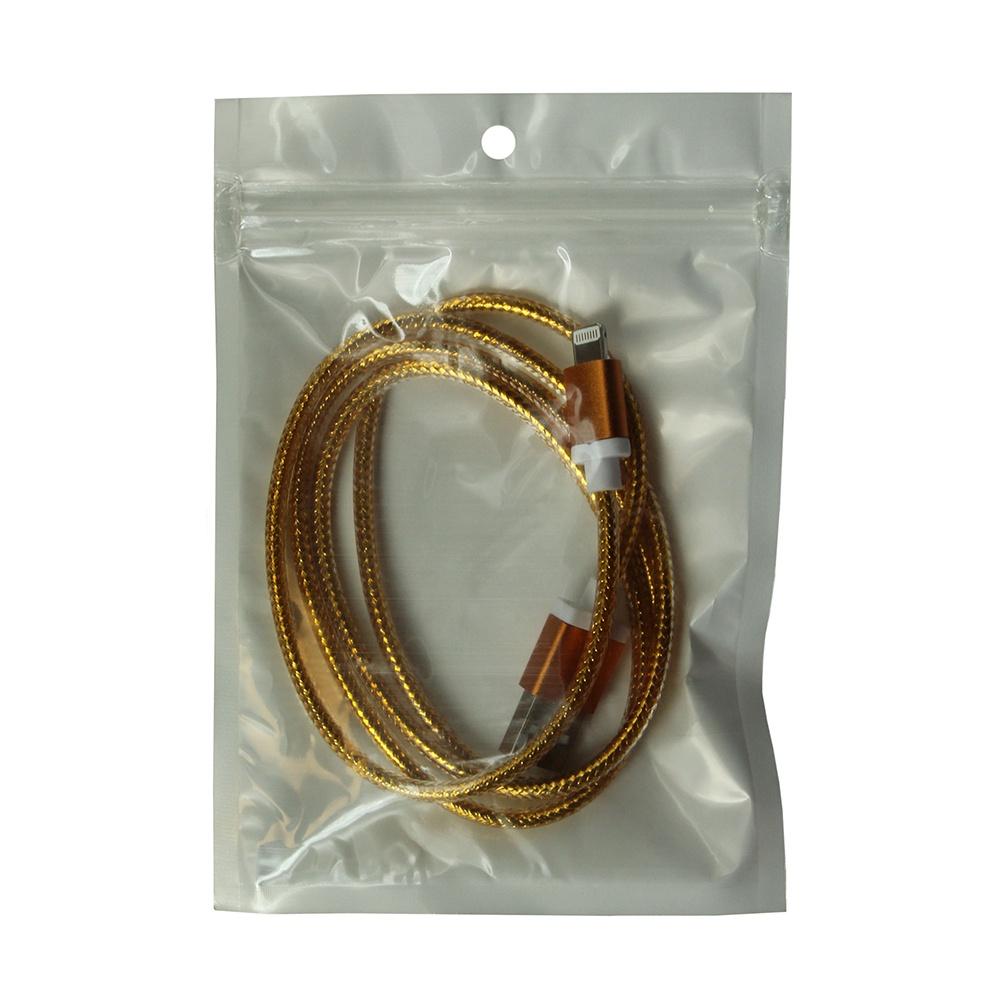 Кабель Lightning - USB 2.0 золотой, 1.0 м, Mobiledata кабель mobiledata usb micro usb 1 м двухсторонний нейлоновая оплётка золотой
