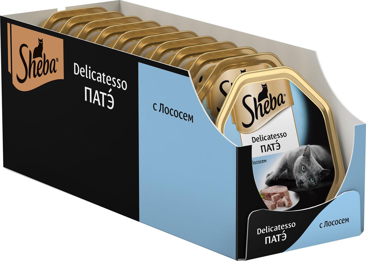 Корм консервированный Sheba Delicatesso, для взрослых кошек, от 1 года, патэ с лососем, 85 г х 22 шт корм для кошек sheba delicatesso патэ лосось конс 85г