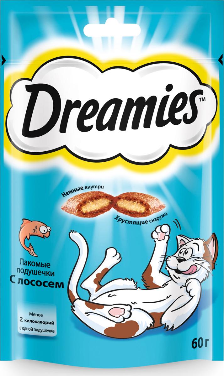 Лакомство для взрослых кошек Dreamies, подушечки с лососем, 60 г