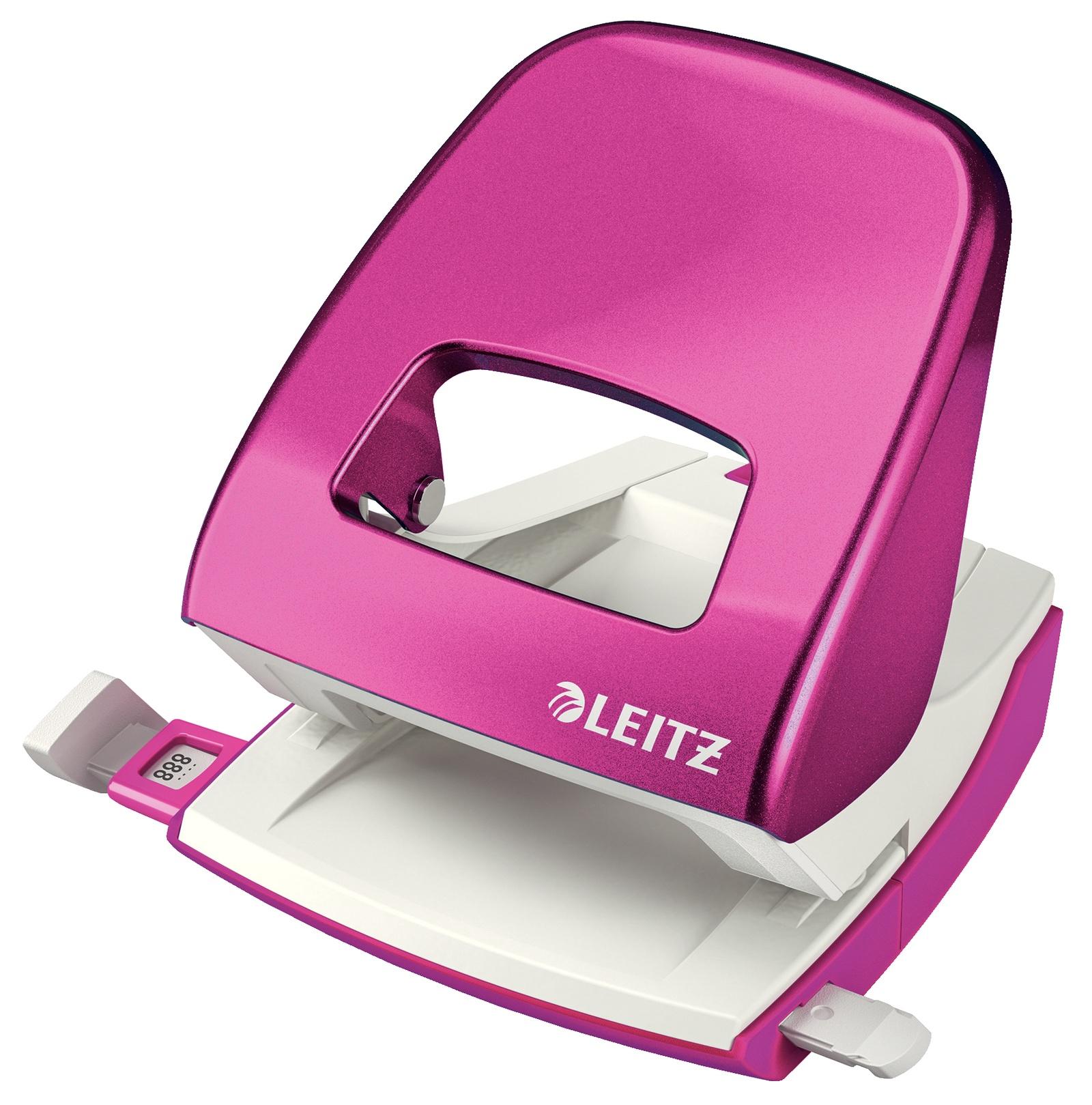Дырокол металлический Leitz NeXXT, 30 листов, розовый металлик, блистер