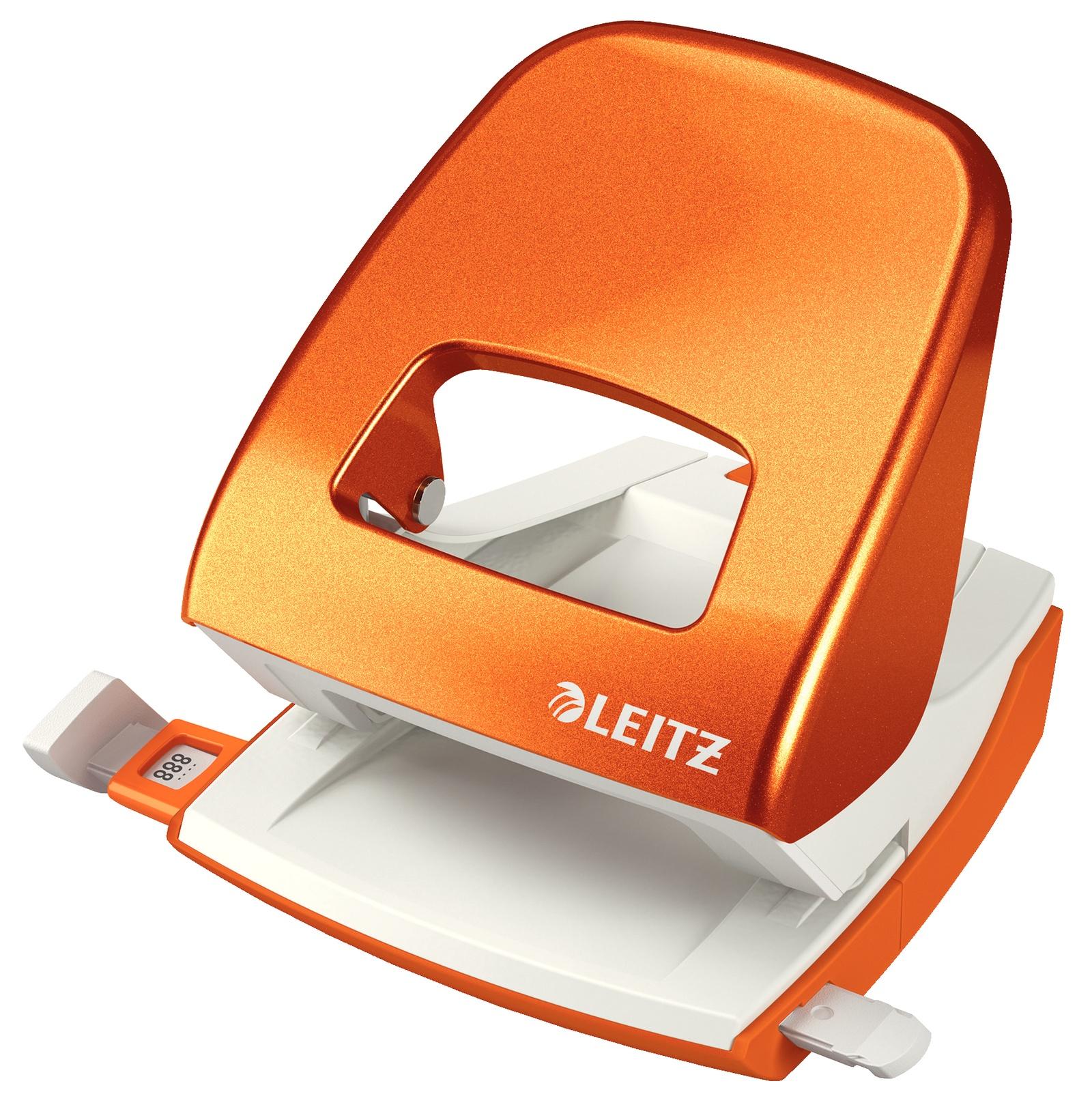 Дырокол металлический Leitz NeXXT, 30 листов, оранжевый металлик, блистер