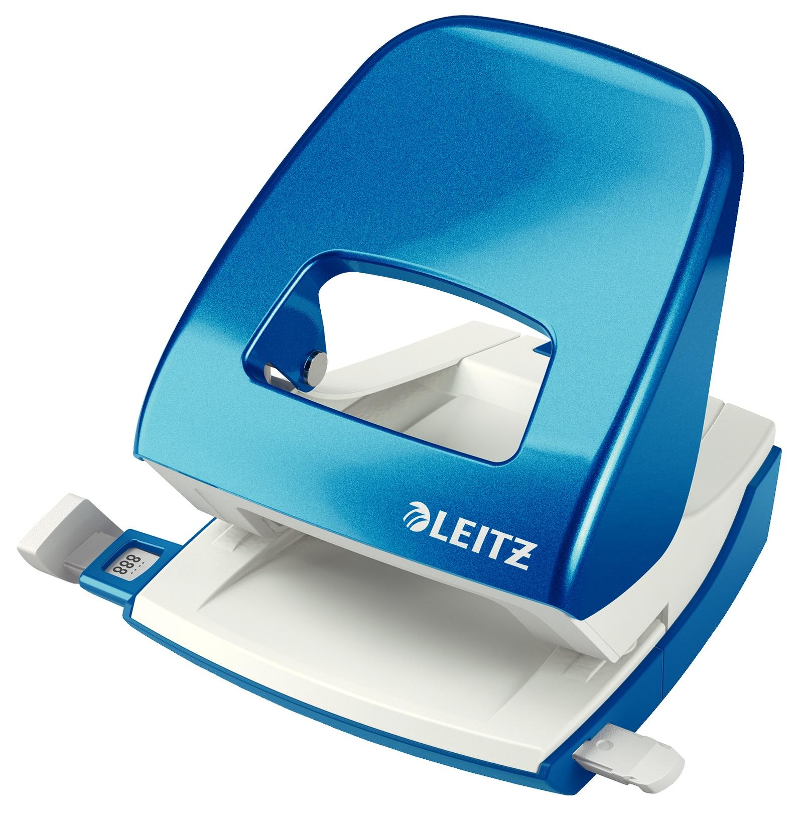 Дырокол металлический Leitz NeXXT, 30 листов, синий металлик