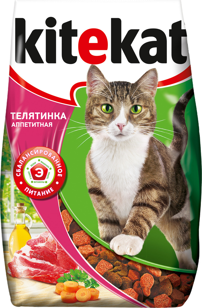 Корм сухой для кошек Kitekat, телятина аппетитная, 1,9 кг orthomol osteo витамины и минералы для укрепления костей 30 порций