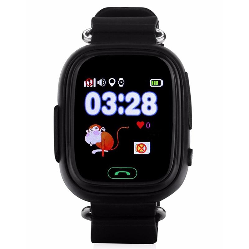 Часы Smart Baby Watch Q90 с сенсорным экраном - Черные q100 q750 smart watch phone baby children kids gps tracker 1 54 touch screen wifi location sos anti lost device safe pk q50 q90