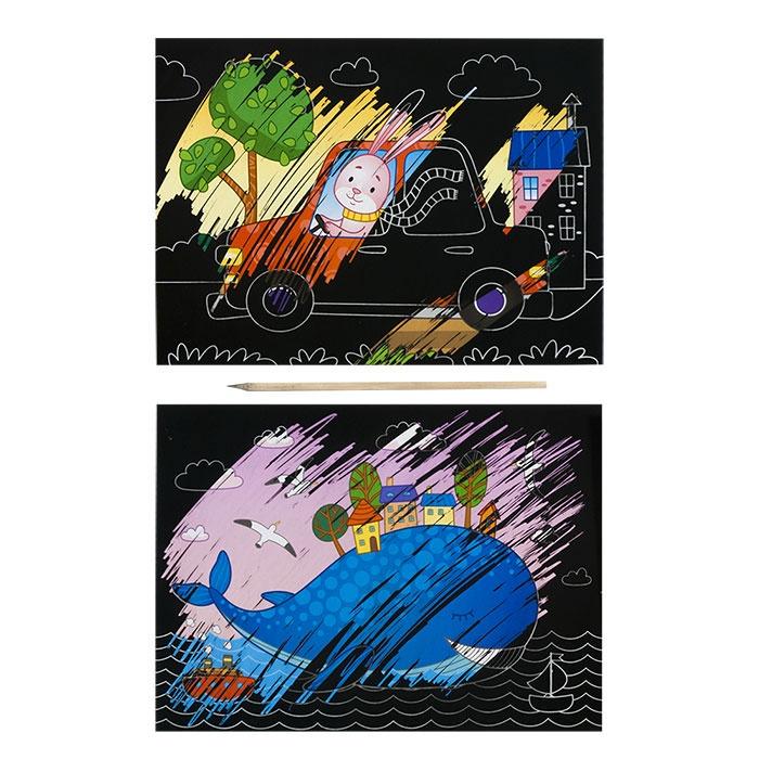 Гравюра набор для малышей Каляка-Маляка ПУТЕШЕСТВИЯ 2 картинки А5 в наборе Каляка-Маляка