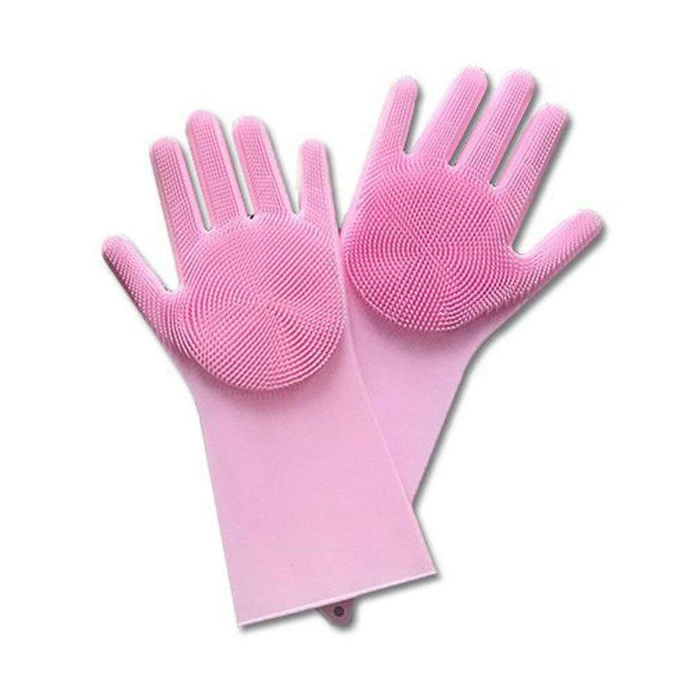 Перчатки силиконовые для мытья посуды Wash Hands универсальные термостойкие с щеточками розовые щетки для кухни