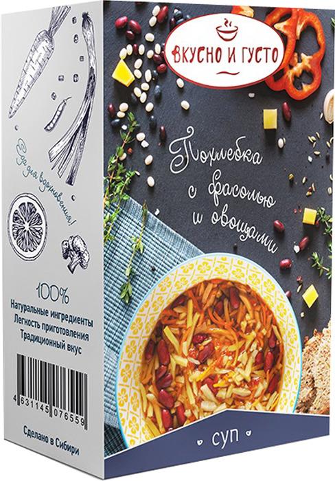 Похлебка быстрого приготовления Вкусно и Густо, с фасолью овощами, 121 г