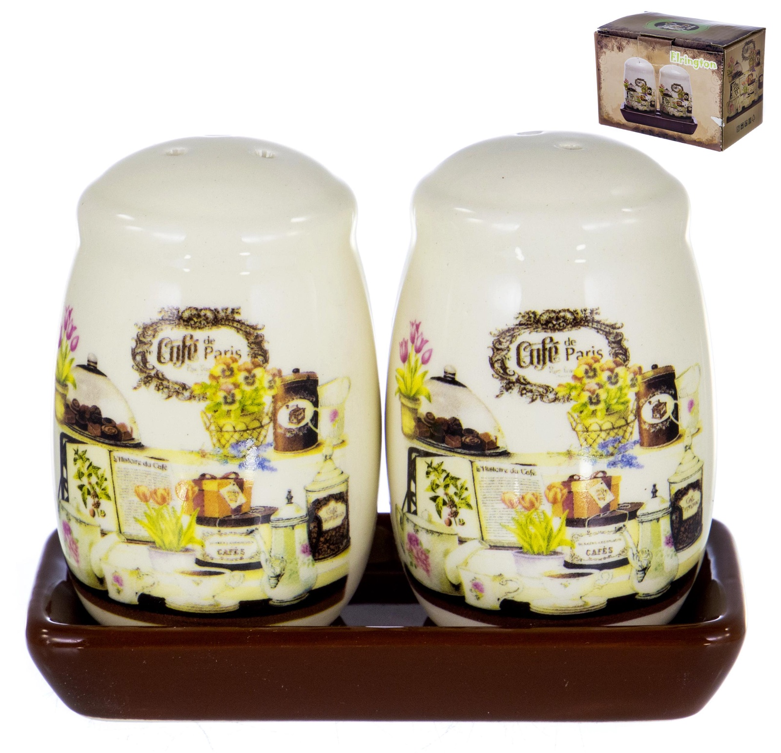 Набор для специй солонка и перечница на керамической подставке декор БРАУНИ, подарочная упаковка ТМ Elrington , арт. 110-07042 цены