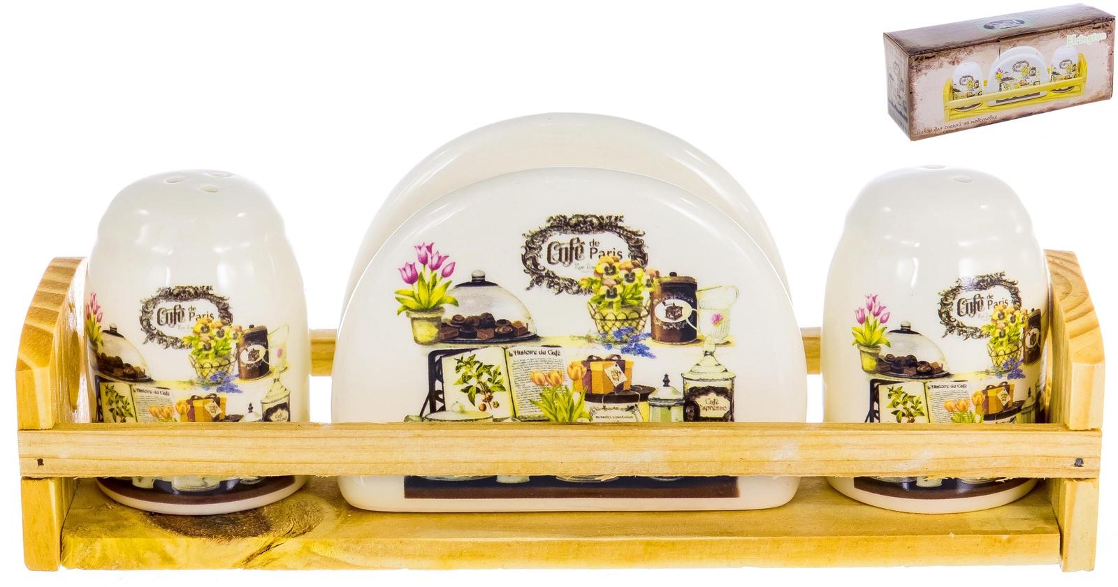 Набор салфетница, солонка, перечница на деревянной подставке, декор БРАУНИ, подарочная упаковка ТМ Elrington , арт. 110-07062 цены
