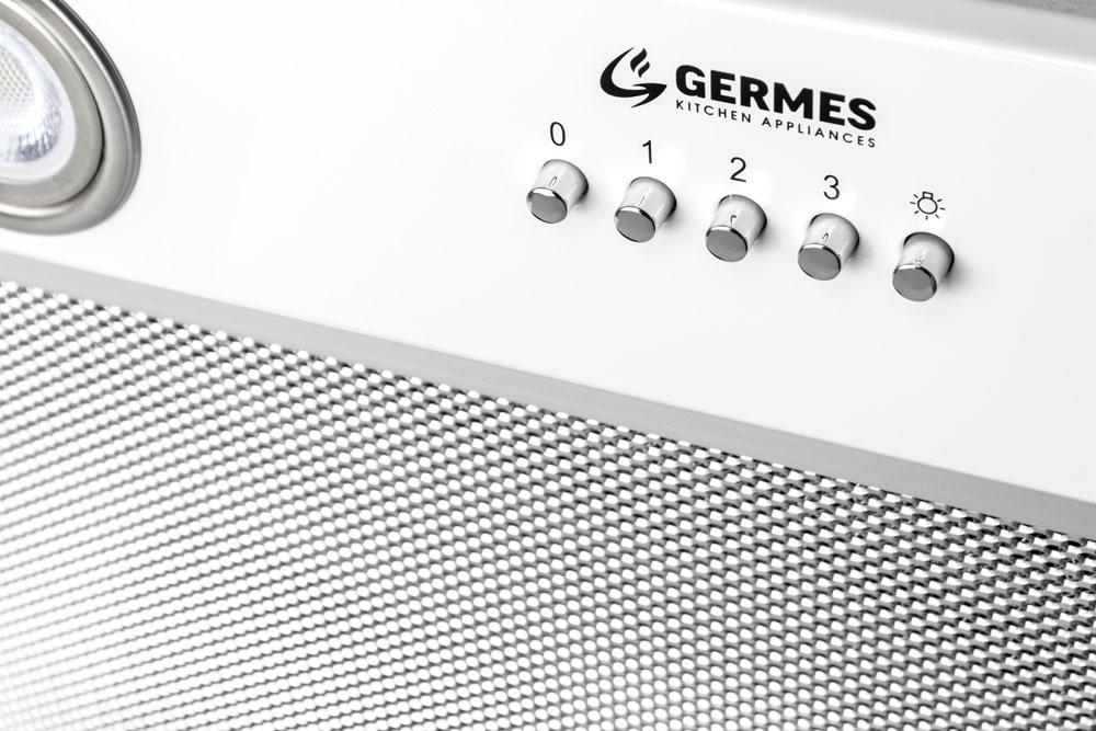 Вытяжка кухонная Germes York (белый) Тихий мотор на 600 куб м/ч, светодиодное освещение, кнопочное...