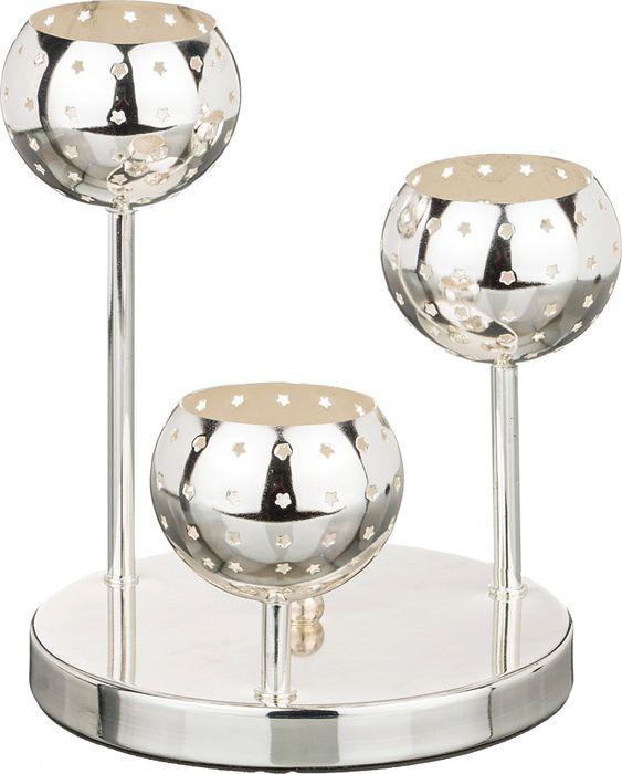 Подсвечник Lefard, 39-407, 3-х рожковый, серебристый, 18 х 18 х 22 см цены онлайн