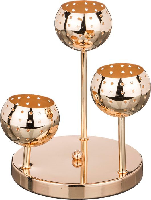 Подсвечник Lefard, 39-408, 3-х рожковый, золотой, 18 х 18 х 22 см цены онлайн