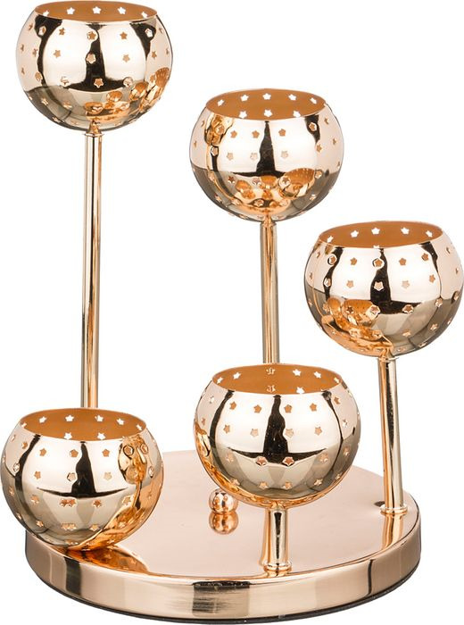 Подсвечник Lefard, 39-410, 5-ти рожковый, золотой, 20 х 20 х 27 см подсвечник lefard 421 236 розовый 10 5 х 8 5 см