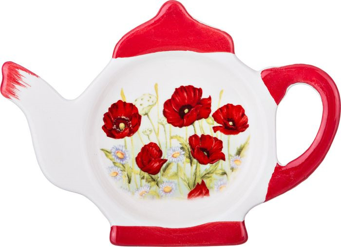 Подставка для чайных пакетиков Agness Полевые маки, 358-1087, 13 х 9 х 2 см
