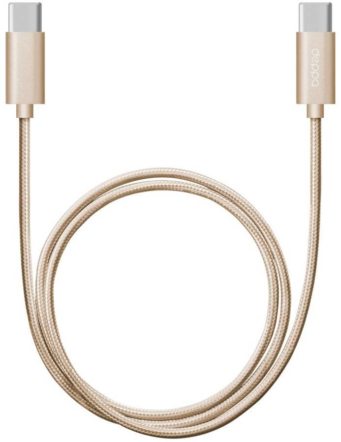 Кабель Deppa USB Type-C - USB Type-C 1.2m алюминий/нейлон (Золотой) цена