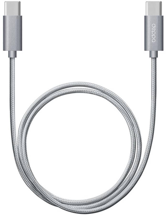 Кабель Deppa USB Type-C - USB Type-C 1.2m алюминий/нейлон (Графитовый) цена