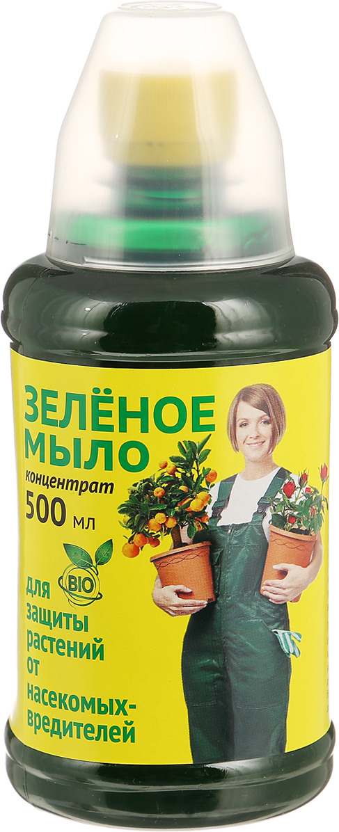 Препарат для защиты растений Ваше хозяйство Зеленое мыло, с мерным стаканчиком, от вредителей, 500 мл препарат для защиты растений ваше хозяйство инсектор от вредителей 1 2 мл