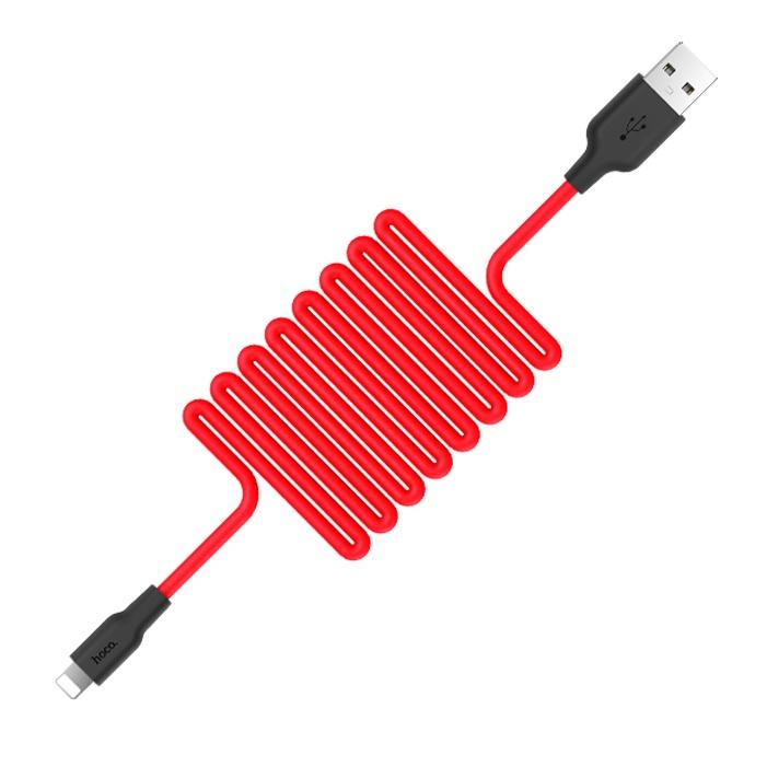 Кабель USB Hoco X21 Silicon Lightning, 1 м, черный с красным