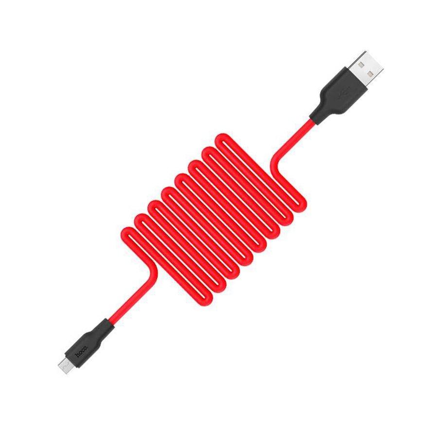 Кабель USB Hoco X21 Silicon черный с красным