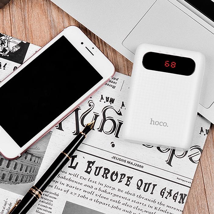 Внешний аккумулятор Hoco Power Bank B20 Mig Lcd  белый Это позволяет брать его на прогулку, в путешествие, на учебу, работу...