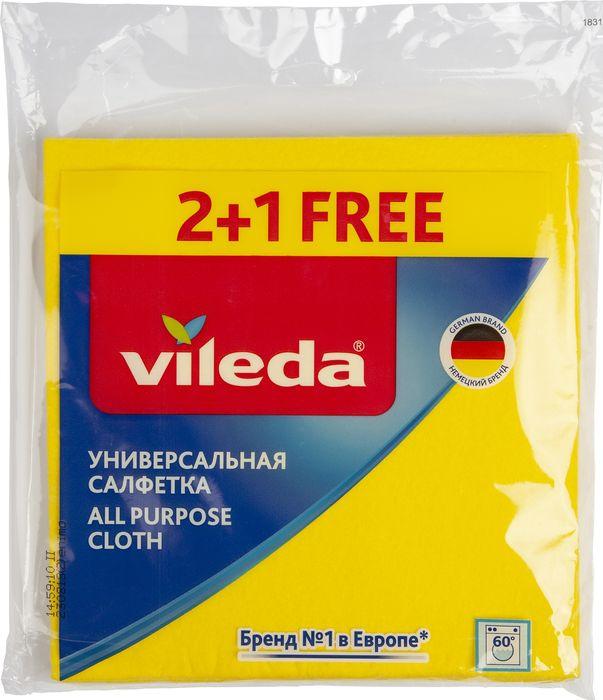 Салфетка Vileda, желтый, универсальная, 3 шт