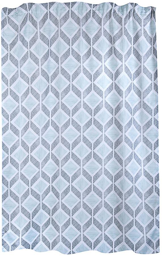 Штора Verran Romb, 315-10, бирюзовый, серый, на ленте, высота 260 см