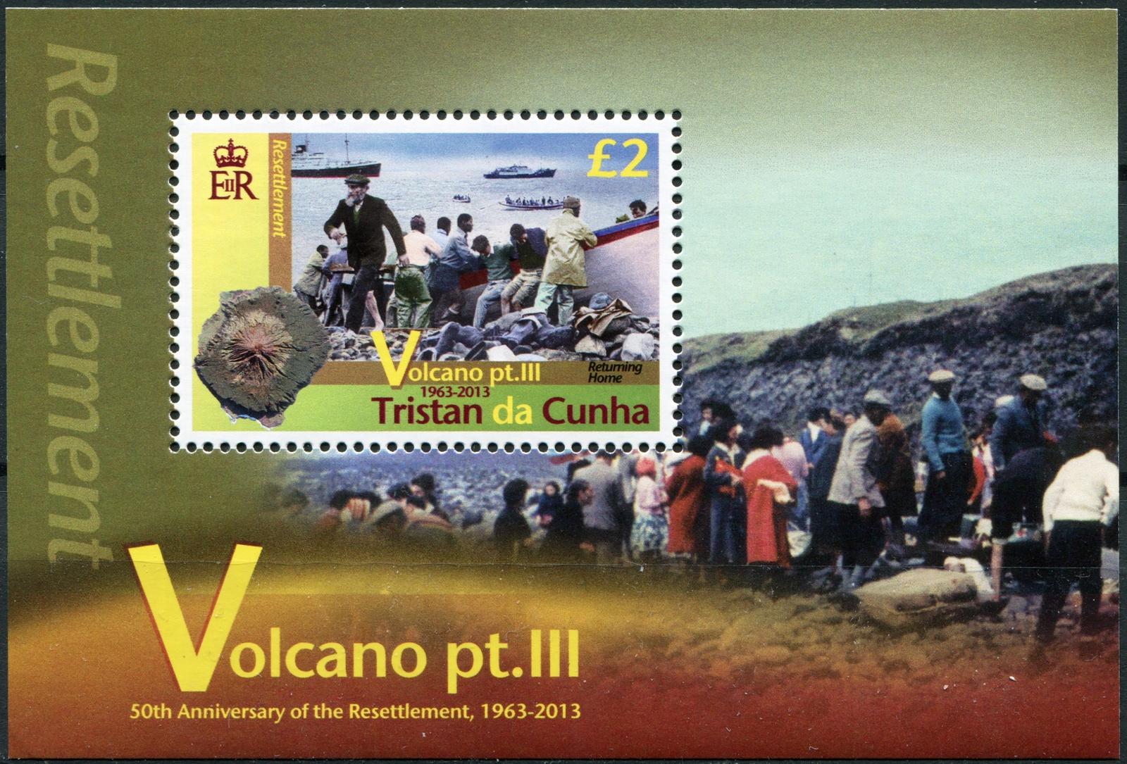 Тристан-да-Кунья. 2013. 50 лет переселению периода извержения вулкана (Блок. MNH OG)