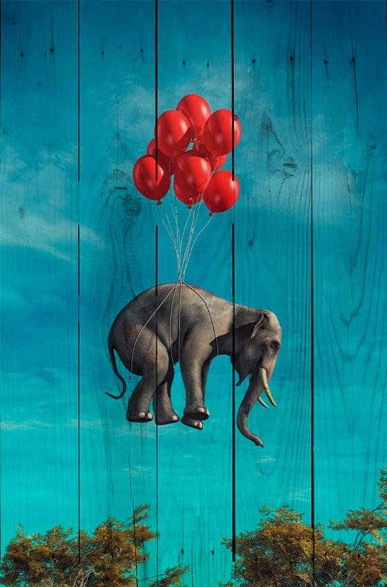 Слон с шариками 30 х 40 см