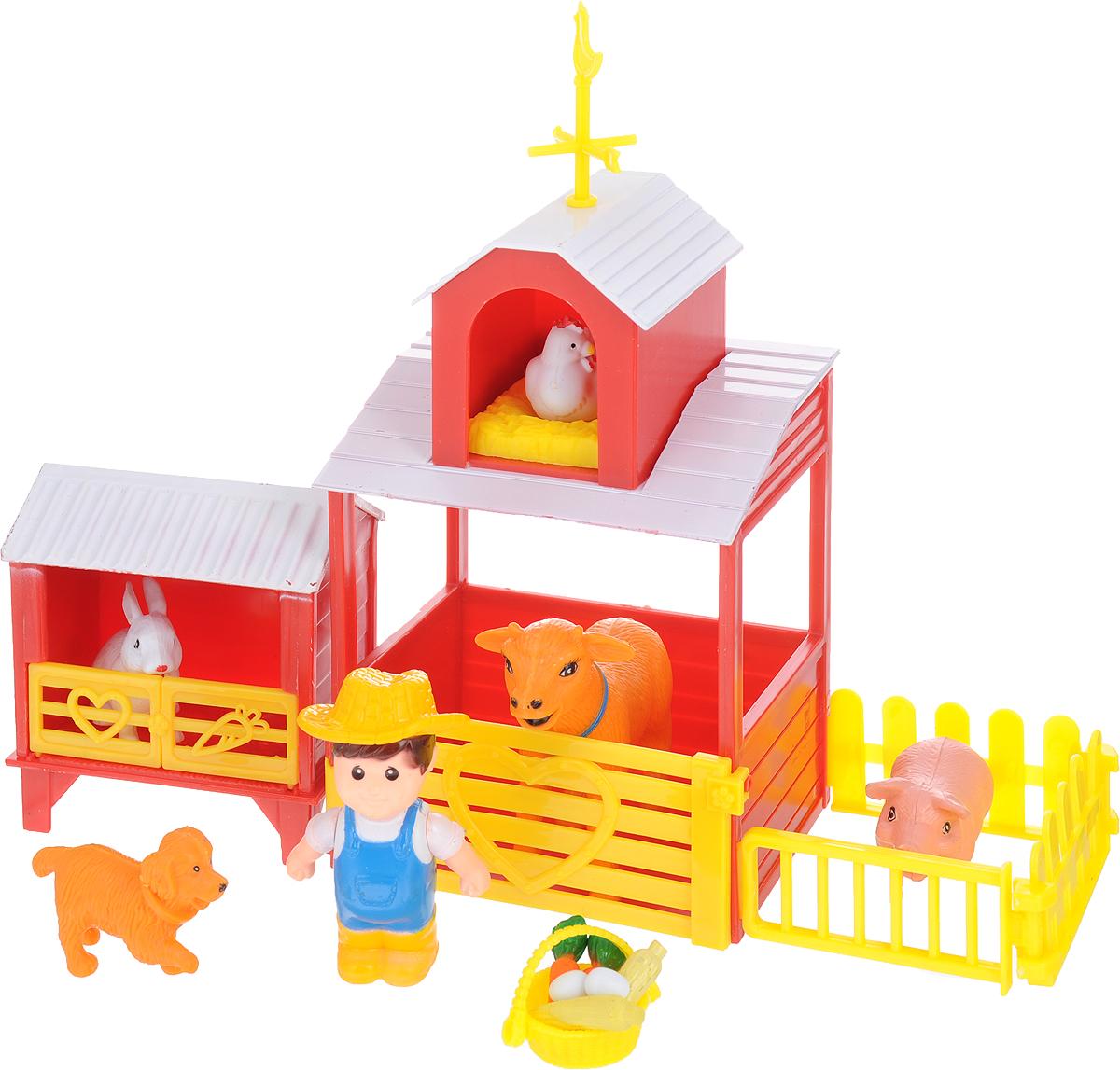 Игровой набор 1TOY Ферма Двухэтажный домик, фермер, зверюшки, Т11046